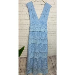 Majorelle Long Tiered Lace Dress Small